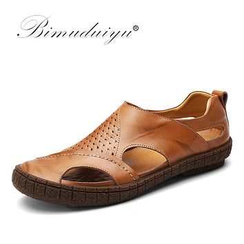 Cow Split Leather Men Sandals waterproof Summer Flats Shoes Version Daily Breathable Feet Lazy Casual Sandals