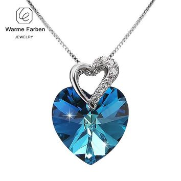 WARME FARBEN Crystal from Swarovski Women Necklace Fine Jewelry Blue Crystal Heart Pendant Necklace Fashion Jewelry Collares