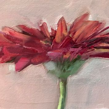 ACEO Original Oil Painting, Flower, Red, Gerbera Daisy by Gary Bruton