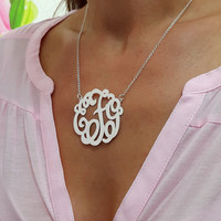"Large Monogram Necklace, Silver Monogram Necklace, 1.75"" , Personalized gift, Christmas Gift"