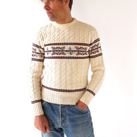 Men's Cable Knit Sweater / Nordic Sweater / 1970s Sweater / Men's Sweater / Small S