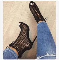 Summer Sandal Gladiator High Heels Women Sexy Front Open Cross Strap Stilettos Pumps Woman Ankle Cool boots