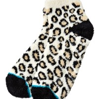 Shea-Infused Lounge Socks Cream Leopard Print