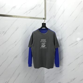 Balenciaga Two Piece Patchwork short sleeve and long sleeve t-shirt  010