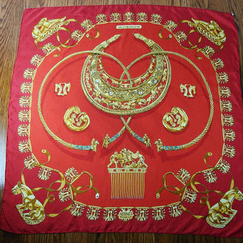 VINTAGE Authentic Hermes Les Cavaliers D Or RED & Gold Designer Scarf Shawl