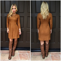 Cable Knit Dress - PUMPKIN