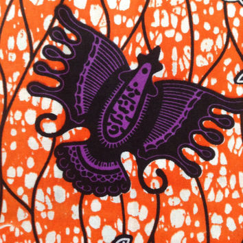 Purple and Orange African fabric, Wax print, African print, African material, African fabric, 100% cotton