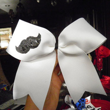 Mustache Cheer Bow