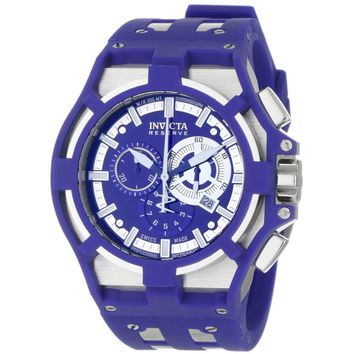 Invicta 0633 Men's Akula Reserve Chronograph Blue Dial Blue Silicone & Steel Strap Watch
