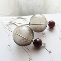 Smokey blown glass red jade and gold earrings  by OliveYewJewels