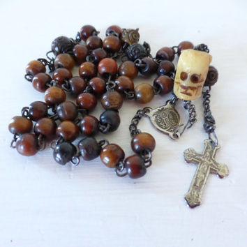 Antique French Rosary, Memento Mori Skull, SHIPPING INCLUDED