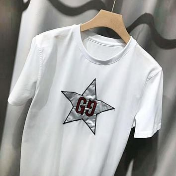 GUCCI Fashion New Embroidery Letter Star Women Men Top T-Shirt White