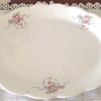 Cottage Chic Platter, Easter Platter, White Pink Blue Bridal Bouquet, Scalloped Border, Farmhouse Shabby Decor, Kitchen Serving, Circa 1910