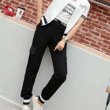 Woman's Leisure  Fashion Letter  Drill Printing Spell  Color Stripe Zipper Short Sleeve Trousers Two-Piece Set Sportswear