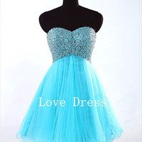 A-line Blue Sweetheart Short Prom Dress/Homecoming Dresses