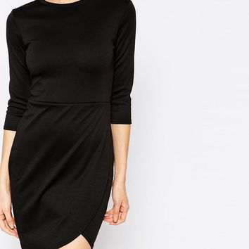Club L Essentials Dress With Asymmetric Wrap Front at asos.com