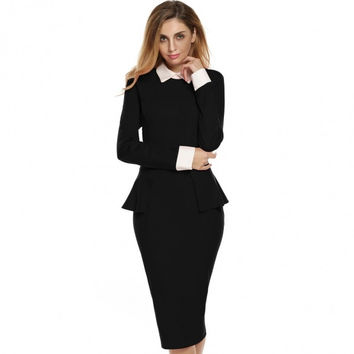 OL Style Women Lady Long Sleeve Doll Collar High Waist Peplum Sexy Bodycon Solid Formal Dress