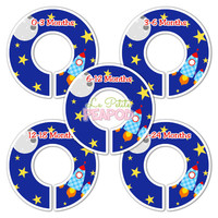 5 Custom Made Baby Closet Dividers  - Space Rocketship Design - Outer Space Nursery Closet dividers Baby Shower GIft