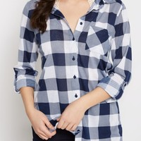 Navy & White Buffalo Plaid Button Down | Plaids & Flannels | rue21