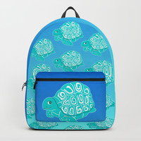 Teal Sea Turtles Blue & Aqua Pattern Backpacks by Artist Abigail
