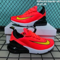 KU-YOU N125 Nike 2018 Wmns Air Max 270 Flyknit Crystal Particle Cushion Causal Running Shoes Orange Yellow