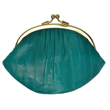 Eel Skin Large Double Coin Purse Change Wallet E 10 BIG