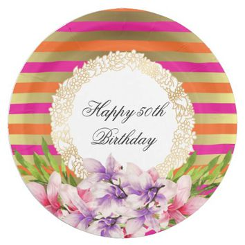 Purple and Pink Watercolor Magnolia Birthday Paper Plate