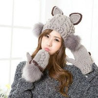 Cute Women Warm Knitted Hat Devil Cat Ear Horns Winter Cap Bobble Fur Head Beanie Gloves (price Is Just For 1pc Goves Or Hat)