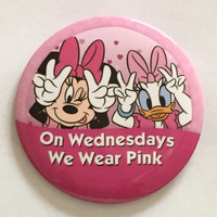 On Wednesdays We Wear Pink I'm Celebrating Button Breast Cancer Awareness