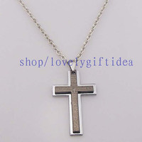 Bible cross necklace Men jewelry Black and white Double fashion accessories Silver chain necklace Cross pendant Crown Roman number