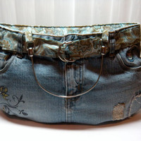 Denim Jean Skirt Purse by aprilleialoha on Etsy