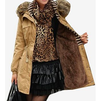 PARKA COAT WITH FAUX FUR LINING