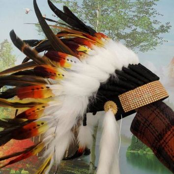PEAPON Orange indian feather headdress american costume indian chief warbonnet costumes halloween party decor