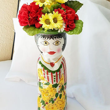 Vintage Large Susan Paley Vase Daisy Casa Bella Ganz Handpainted Lady Bud Candle Holder Yellow Red Whimsical Home Decor Fashionista Gift