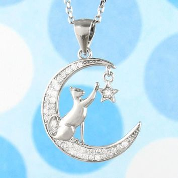 Cat Reaching for a Star on a Crescent Moon Necklace