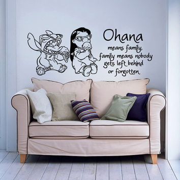 Wall Decal Quote Ohana Means Family, Family Means Nobody Gets Left Behind Or Forgotten  Lilo And Stitch Baby Kids Nursery Bedroom Decor 0100