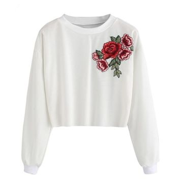Feitong Embroidery Blouse Vantage Winter Blouse for Womens Rose Applique O-Neck Long Sleeve Pullover Crop Tops Blouse