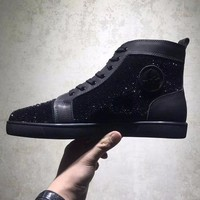 ONETOW Best Online Sale Christian Louboutin CL Louis Strass All Black Men's Women Flat Shoes