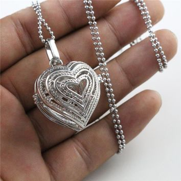 1pcs 31x25x26mm Brass Magic Locket,Fragrance Oil Aromatherapy Diffuser, 27.5 inch Long Stainless Steel Pendant Necklace N7-19