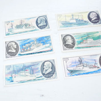 Warships Soviet Vintage Postal Stamps,Set of 6,military postal stamp,postage,Russian,Soviet,collection,ww2,paper ephemera,USSR,ship boat