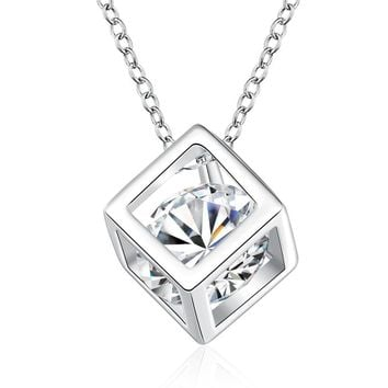Women 925 Sterling Silver Cube And Stone Pendant And Chain