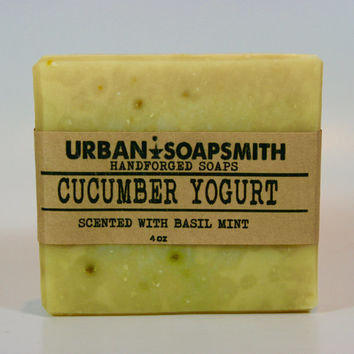 Cucumber & Yogurt Soap *Basil Mint*- Natural Soap - Handmade  - Cold Process Soap, Cucumber Soap, Natural Soap
