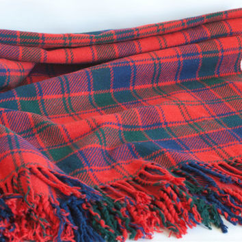 Vintage Plaid Wool Camping Blanket, Selfridges English Tartan Lumberjack Red Throw with Fringe, Stadium Blanket, Winter Cabin Decor