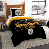 Pittsburgh Steelers NFL Draft Twin Comforter & Sham Set