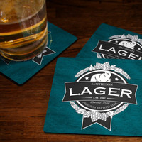 Personalized Beer Coasters - Family Name Lager Beer Coaster Set Custom Fabric Or Hard Cork Coaster