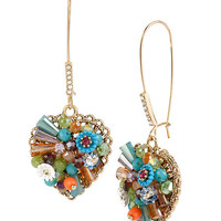 Betsey Johnson Woven Mixed Multi-Colored Bead & Flower Heart Long Drop Earrings | Dillards