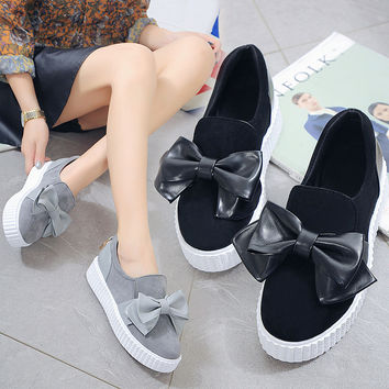 Fashion thick sole round toe women casual shoes bow knot decorate loafer shoes flat board shoes