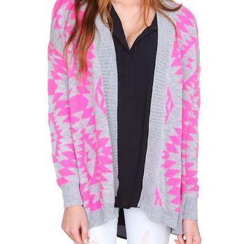Day Off Sweater Cardigan - Pink