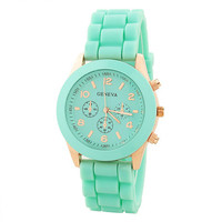 Rose Gold & Mint Rubber Strap Watch