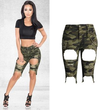 Ripped Camouflage High Waist Jeans Stretchable Skinny Knee-Length Shorts